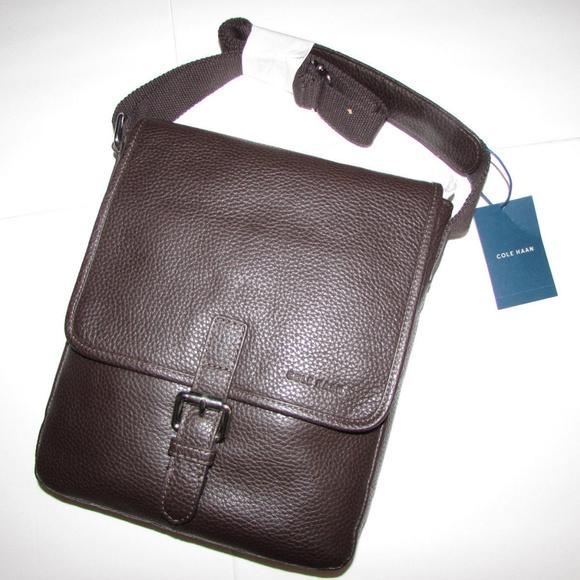 70b9569985238 NEW-COLE HAAN Brown Reporter Wayland Bag Satchel